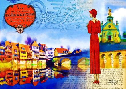 collage, Jao, carte postale, Creuse, vallée de la Creuse, Vallée des peintres entre Berry et Limousin, Argenton sur Creuse