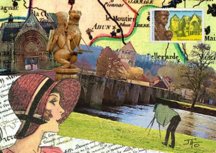 collage, Jao, carte postale, Creuse, Moutier d'Ahun