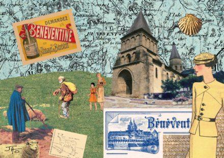 collage, Jao, carte postale, Creuse, Bénévent l'Abbaye,