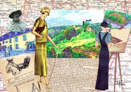 collage, Jao, carte postale, Creuse, vallée de la Creuse, Vallée des peintres entre Berry et Limousin, Crozant