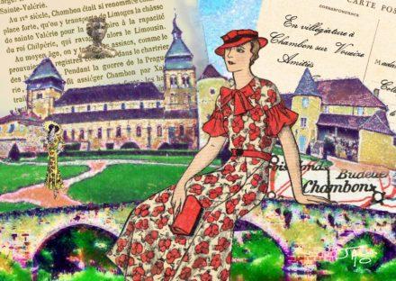 collage, Jao, carte postale, Creuse, Chambon sur Voueize