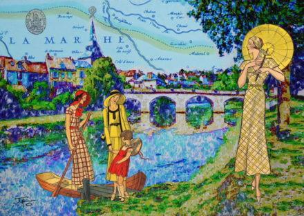 collage, Jao, carte postale, Creuse, vallée de la Creuse, Vallée des peintres entre Berry et Limousin, La Celle Dunoise