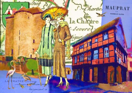 collage, Jao, carte postale, Indre, Berry, George Sand, La Châtre