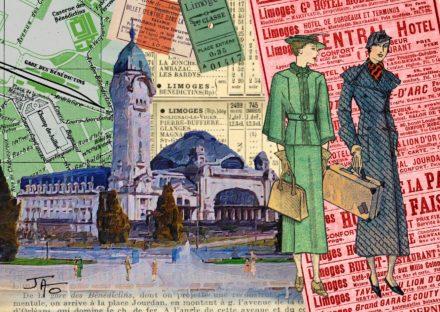 collage, Jao, carte postale, Haute-Vienne, Limoges, gare des Bénédictins