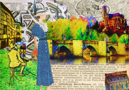 collage, Jao, carte postale, Haute-Vienne, Limoges, pont St Etienne