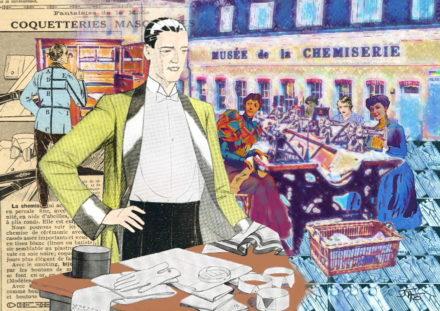 collage, Jao, carte postale, Creuse, vallée de la Creuse, Vallée des peintres entre Berry et Limousin, Argenton sur Creuse, Musée de la chemiserie