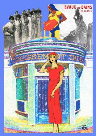 collage, Jao, carte postale, Creuse, Evaux les Bains