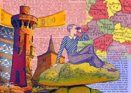 collage, carte postale, Jao, humour, insolite, Creuse, Indre, Berry, récupération, recyclage,