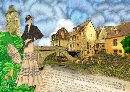 collage, Jao, carte postale, Creuse, Aubusson, pont de la Terrade, tapisserie