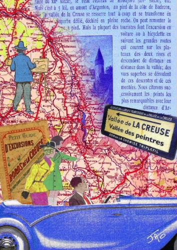 Carte postale, Creuse, Indre, vallée de la Creuse, vallée des peintres entre Berry et Limousin, Jao