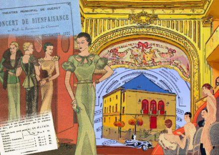 Petit théâtre de Guéret, collage, carte postale, Guéret, Creuse,