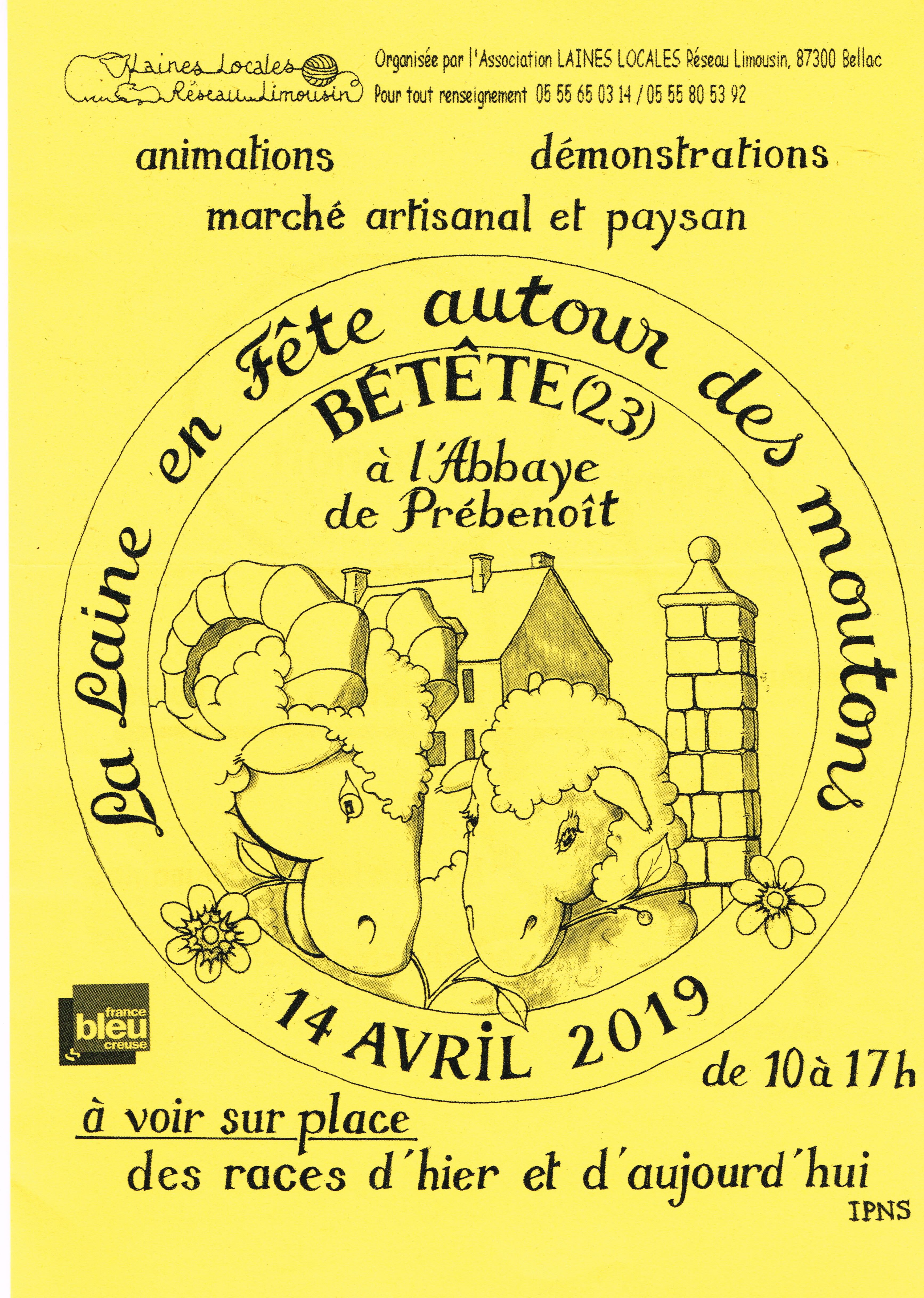 Laine en Fête à Prébenoît – Dimanche 14 avril 2019