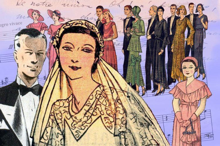 Faire-part, mariage, carte postale, collage, Jao