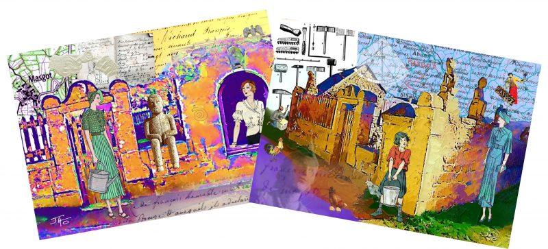 Deux cartes postales-collages Villégiature à Masgot