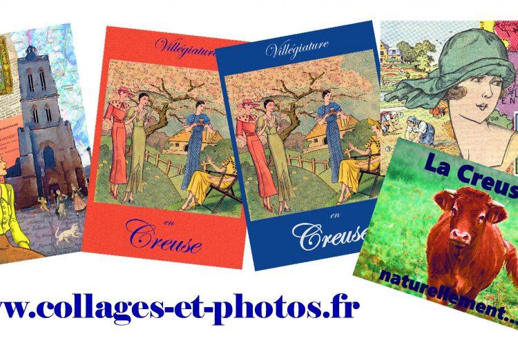 Carte postale, collage, Creuse, Felletin, vache, humour, Jao, Limousin,