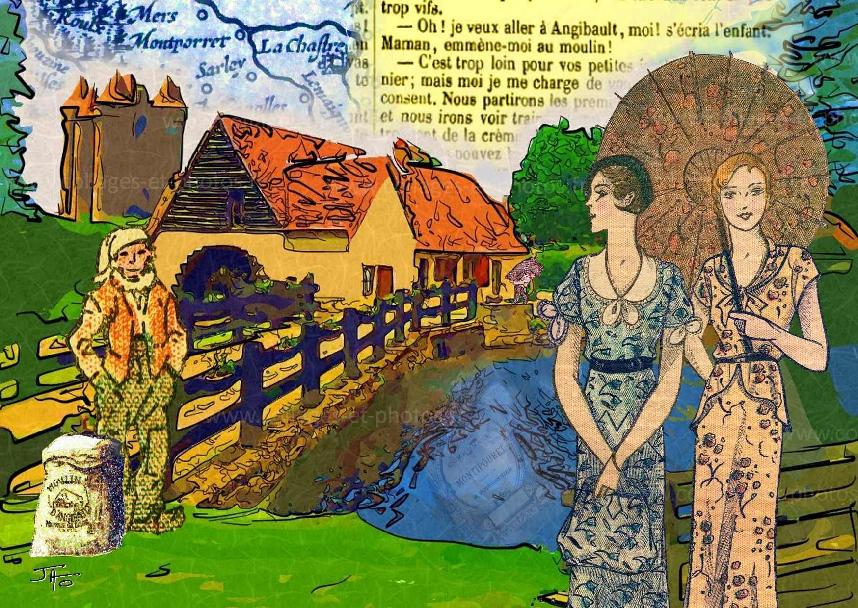 Une nouvelle cartes postale-collage pour l'Indre : Le Moulin d'Angibault