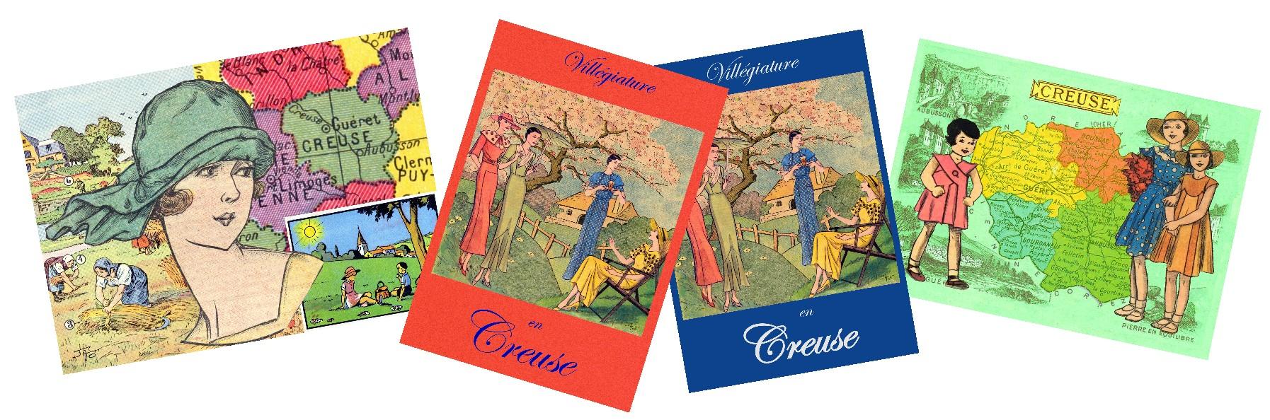 De nouvelles cartes postales-collages de la Creuse